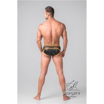 Addikt Leather Jockstrap: Black & Orange